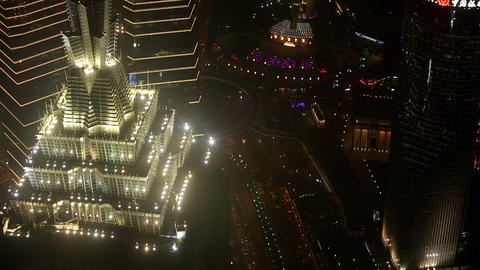 Zoomed view to the lights on the top of tall skyscraper in Huangu Park Footage