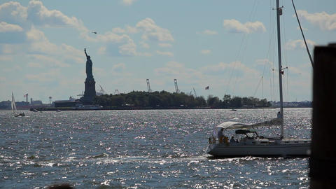 View of the Statue of Liberty while floating the Hudson River by ferry Footage