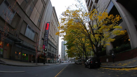 View from car while driving through the streets of Seattle Footage