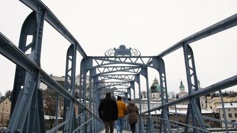 Mozart bridge in Salzburg during winter, birth city of... Stock Video Footage