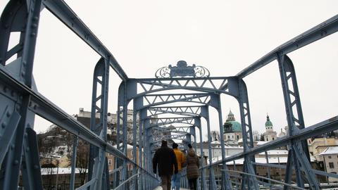 Mozart bridge in Salzburg during winter, birth city of Mozart, genius of Footage