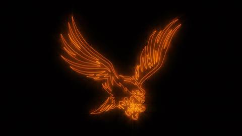 Orange Burning Eagle Animated Logo Loopable Graphic Element Videos animados