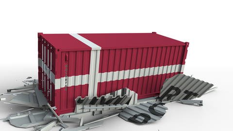 Container with IMPORT text being crashed with container with flag of Denmark Live Action