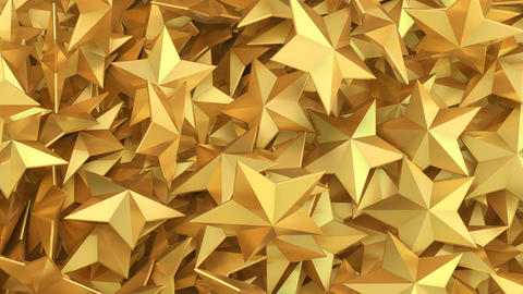 Background with 3d golden stars rotating Animación