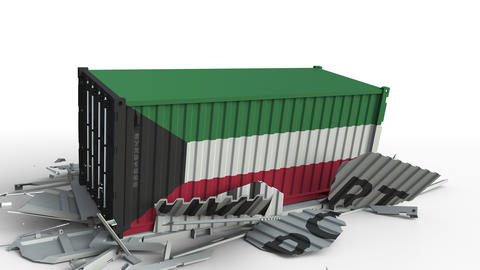 Cargo container with flag of Kuwait breaks container with IMPORT text Live Action