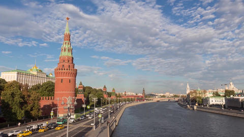 Timelapse The Moscow Kremlin and Moscow river ビデオ