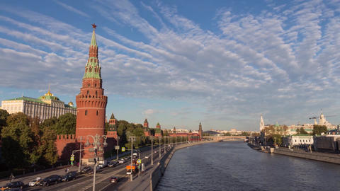Timelapse The Moscow Kremlin and Moscow river 動画素材, ムービー映像素材