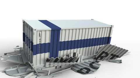 Container with flag of Finland breaking container with IMPORT text. Conceptual Live Action