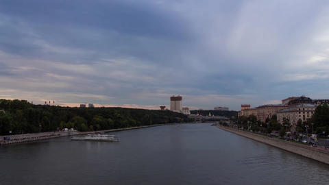 Time Lapse Moscow River evening 動画素材, ムービー映像素材
