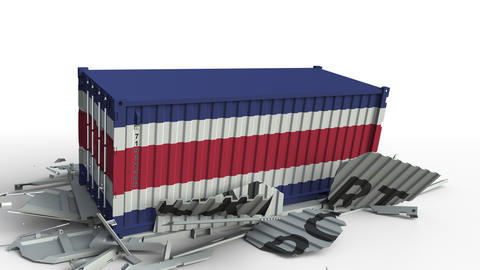 Cargo container with flag of Costa Rica breaks container with EXPORT text Live Action