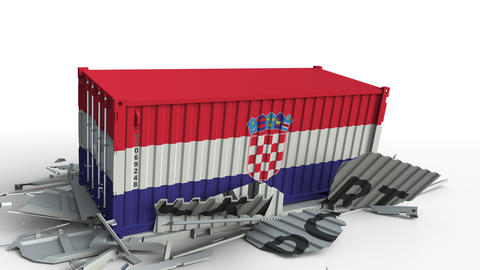 Cargo container with flag of Croatia breaks container with EXPORT text Live Action
