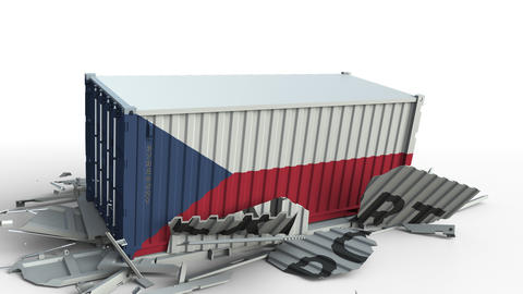 Cargo container with flag of the Czech Republic breaks container with EXPORT Live Action