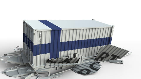 Container with EXPORT text being crashed with container with flag of Finland Live Action