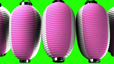 Pink and white paper lanterns on green chroma key CG動画