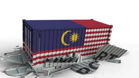 Container with flag of Malaysia breaking container with IMPORT text. Conceptual Footage