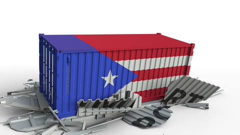 Container with flag of Puerto rico breaking container with IMPORT text Live Action