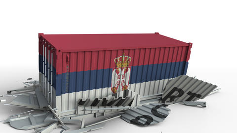 Container with flag of Serbia breaking container with IMPORT text. Conceptual 3D Live Action