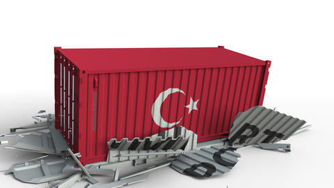 Container with IMPORT text being crashed with container with flag of Turkey Live Action