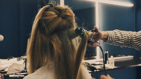 Hairdresser make-up artist hairstyle model blonde Footage