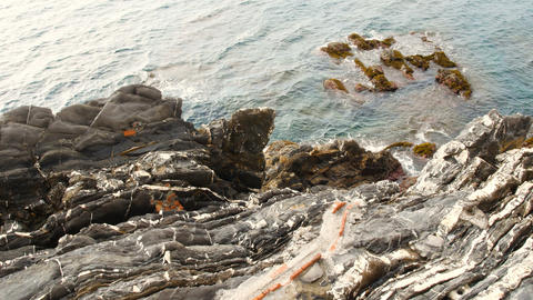view of the calm Ligurian sea, Genoa Nervi area, one of the most beautiful Footage