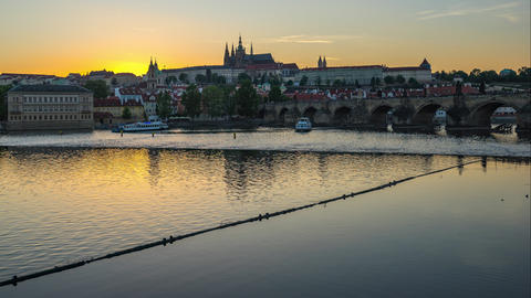 Prague old town cityscape skyline in Prague, Czech Republic day to night time lapse Footage