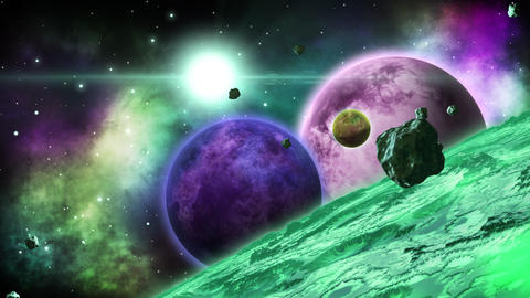 Green huge alien planet with several planets behind.... Stock Video Footage