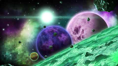 Green huge alien planet with several planets behind. Space art collection. Loop Animation