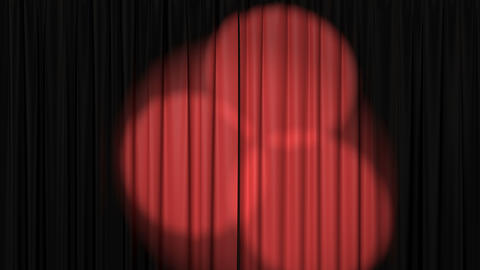 Beautiful Red Curtain with Rotating Spotlights Stock Video Footage