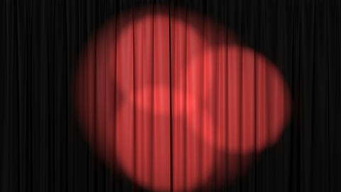 Beautiful Red Curtain with Rotating Spotlights Animation