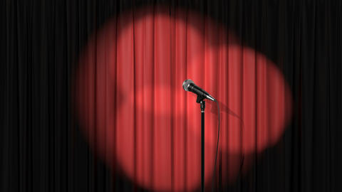 Stand Up Stage, Red Curtain with Spotlights and a Microphone Animation