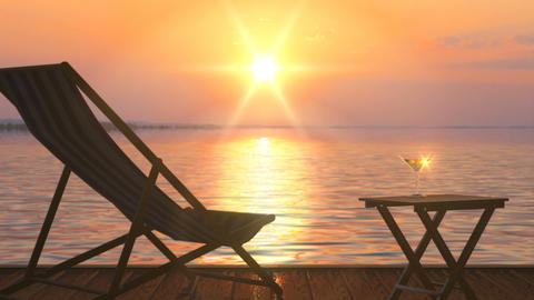 Deck chair and table with glass of wine at lake coast against orange sunset Animation