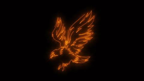 [alt video] Orange Burning Eagle Animated Logo with Reveal Effect