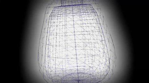 3d wireframe animation with vase on black background with light, color changing Animation