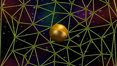 3d golden planet rotating on network on space background with nebula and stars Animation