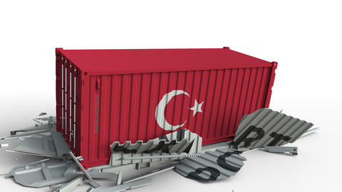 Container with flag of Turkey breaking container with EXPORT text. Conceptual 3D Live Action