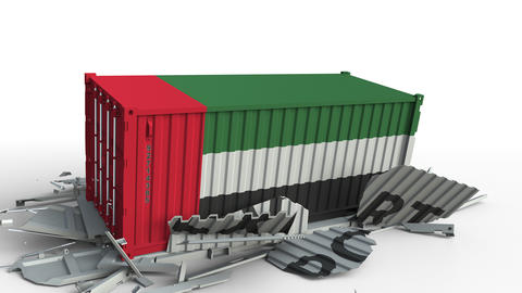 Container with flag of the UAE breaking container with EXPORT text. Conceptual Live Action