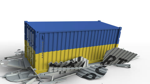 Cargo container with flag of Ukraine breaks container with EXPORT text Live Action