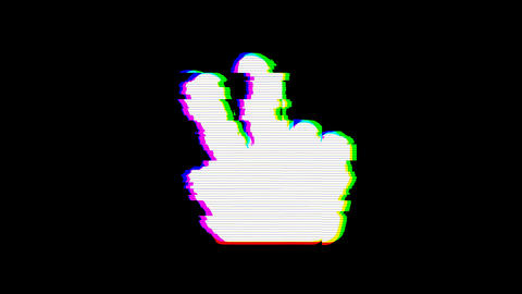 From the Glitch effect arises hand peace symbol. Then the TV turns off. Alpha channel Premultiplied Animation