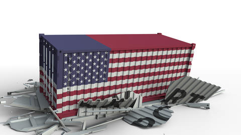 Container with EXPORT text being crashed with container with flag of the USA Live Action