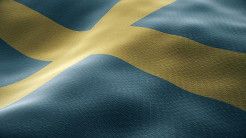 Closeup of a waving Sweden flag looping Animation
