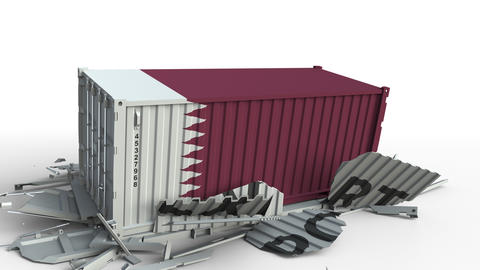 Cargo container with flag of Qatar breaks container with EXPORT text. Conceptual Live Action
