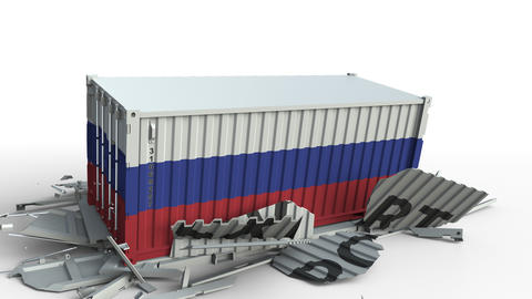 Cargo container with flag of Russia breaks container with EXPORT text Live Action