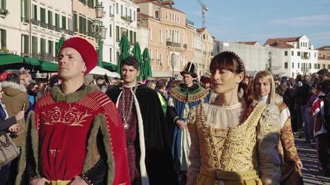 Venice, Italy Carnival celebration Festa delle Marie walking parade Footage