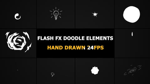 Flash FX Doodle Elements Motion Graphics Pack Stock Video Footage