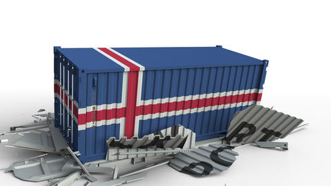 Cargo container with flag of Iceland breaks container with EXPORT text Live Action