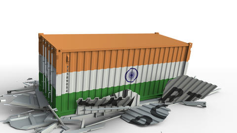 Container with EXPORT text being crashed with container with flag of India Live Action