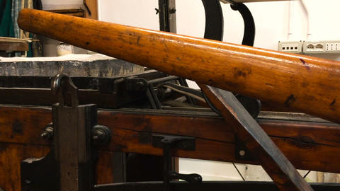 press for handicraft printing, seen in an engraving workshop, ancient printing Footage
