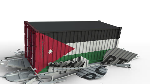 Cargo container with flag of Jordan breaks container with EXPORT text Live Action