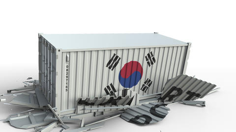 Container with EXPORT text being crashed with container with flag of Korea Live Action