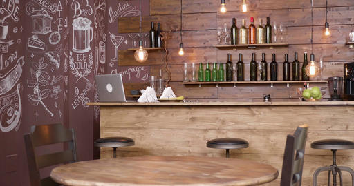 Smooth slide shot of an empty coffee shop interior GIF